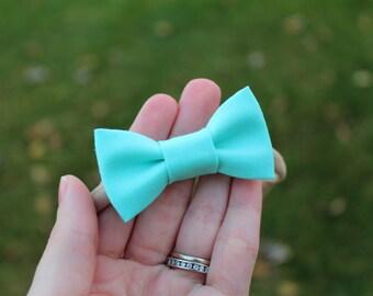 Turquoise Mini Bow, Teal Blue Mini Bow, Small Hair Bow, Nylon headband, Alligator clip