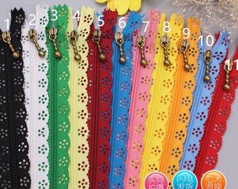20pcs 20 cm nylon lace Zippers, Scollaped Trim Zippers(you could choose the colors)