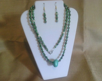 172 Long Natural Ching Hai Jade and Turquoise Beaded Necklace