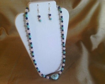 111 Gorgeous Faceted Rose Quartz , Magnesite Turquoise Round Beads and Lapis Lazuli Round Beads with Large Nugget Center Stone Necklace