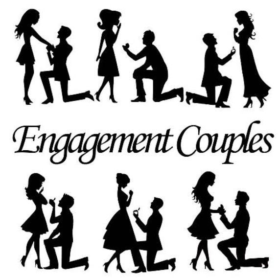 Engagement Couple Silhouette Cutout Assorted Couples Shape
