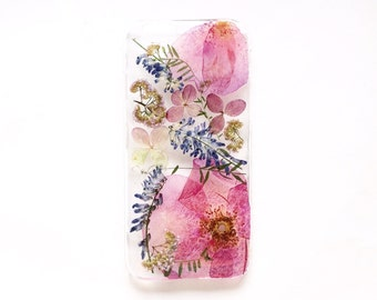 Pressed flower phone case • Real flower iPhone 7 case • iPhone case flowers • Floral bumper case • Pink phone cover • Romantic phone case