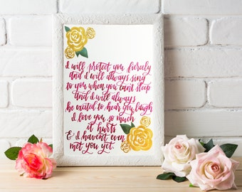 Handlettered Watercolor Nursery painting, Customizable