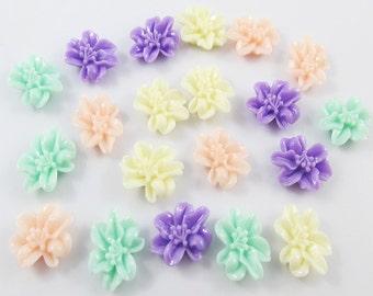 20pcs DIY Resin Fuchsia Flower Cabochon Flat Back 14mm Cards Hair Clips