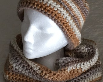 Handmade crocheedt womens winter hat & infinity scarf.