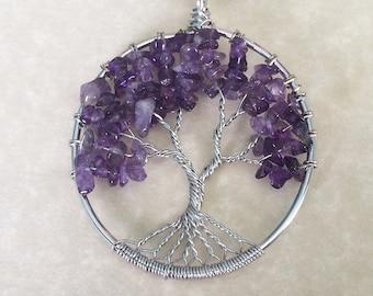 Tree of Life crystal Pendant,Amethyst,Rose Quartz,chakra,spiritual jewellery,crystal healing,wicca, pagan,gemstone necklace,