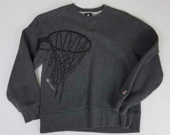 Champion Basketball Stitched Gray Spell Out Pullover Sweater Size YOUTH Medium