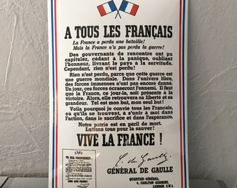 French metal sign arched bombed vintage WORLD WAR II call de gaulle france