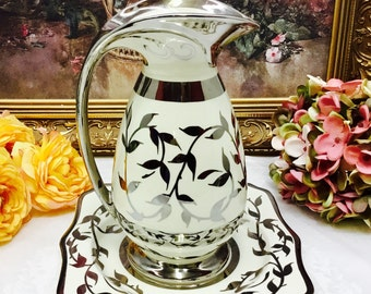 1940's Myott and son hand painted Old Silver Lustre pitcher and plate