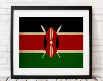 Kenya Flag Art, Kenya Flag Print, Kenyan Flag Poster, Country Flags, Flag Painting, Kenya Flag Poster, African Art, Africa Print, Gifts