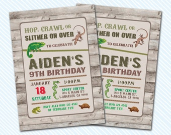 Digital Printable Reptile Birthday Invitation. Lizard birthday