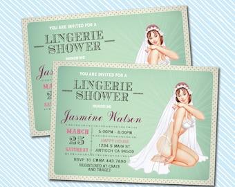 Digital Printable Bridal Shower Invitation. Lingerie Shower invite
