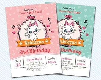 Digital Printable Kitten Birthday Invitation. perfect invitation. Cat birthday invitation