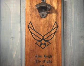 Air Force Wall Mounted Bottle Opener - Aim High - Fly Fight Win - Air Force Logo - Rustic, patriotic, military, bar, home, man cave