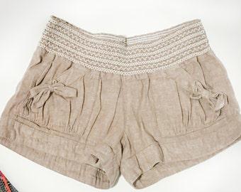 70s 80s Boho Khaki Linen Shorts Women's 5/6