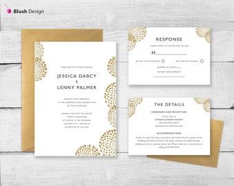 Modern Circles Wedding Invitation | Modern Wedding Invite | Gold Circles Classic Wedding Invitation | DIY Printable Invitations