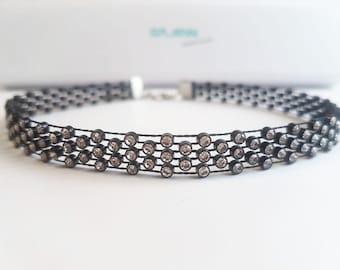Choker Crystal Necklace // Halskette Halsband Damen Schmuck mit künstlichen Kristall Steinen