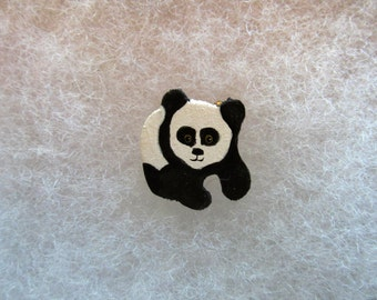 Panda (version 2) Jewelry Pin - handcarved and handpainted