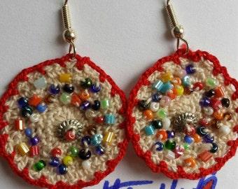 Round beaded multi colour earrings