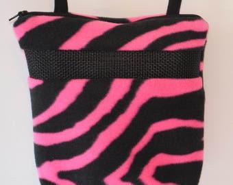 Sugar Glider Bonding Pouch, baby hedgehog bonding bag, small exotic nesting supplies, zipper bag, snuggle sack, Bright Pink Zebra Fleece
