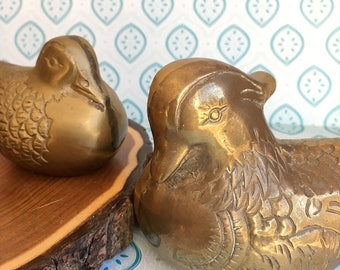 Pair Brass Wood Ducks