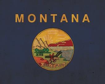 Vintage Montana Flag on Canvas, Montana, Flag, Wall Art, Montana Photo, Montana flag on canvas, Flag, Single or Multiple Panels Indiana flag