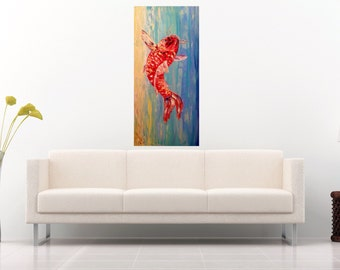 Feng Shui Painting Koi Painting Red Carp Japanese Painting Chinese Carp Oil Painting Ethnic Painting Impasto Painting Fish Painting Original