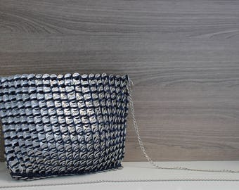 Modern Crossbody Blue Handbag,  Unique & Upcycled Crossbody Bag Made with Recycled Pop Tabs, Statement Piece, One-of-a-kind Sustainable Bag