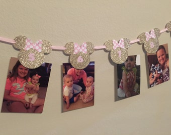 12 Month Picture Banner. Minnie Mouse Theme. Photo Banner