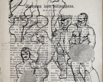 Erotic GAY muscular mens/Tom of Finland /Printing /Antique german book  decor interior picture ART erotic