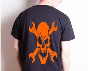 death metal shirt, heavy metal clothing, skull apparel, grunge t-shirts, gothic shirt, heat transfer image, rockabilly tee, sugar skull tee