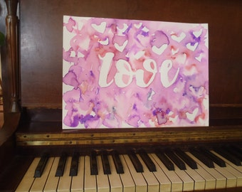 "11"" x 15"" Original Abstract Watercolor Painting with the word ""Love"""