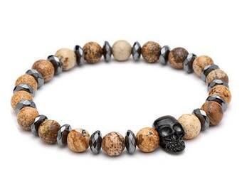 Natural Stone Skull Bracelet for Men | BraceletsDR