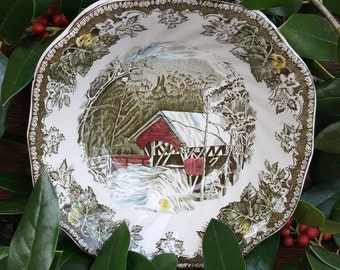 1950's Christmas Decorations/Dishes-Friendly Village China, Vintage Bowls-Johnson Bros-The Covered Bridge- Christmas Decorations-
