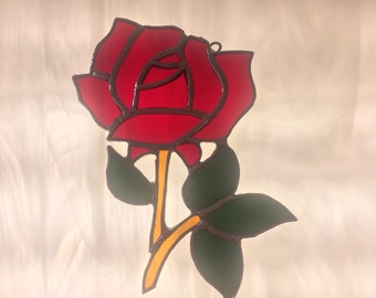 Stained Glass Rose, Rose Sun Catcher. Gift for Her, Mother's Day, Memorial, Bereavement, Valentine's, Thank you Gift, Teacher Appreciation,