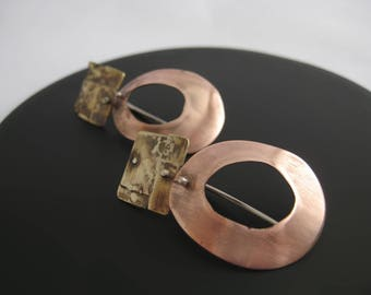 Copper and brass earrings, geometrical earrings, handmade earrings, boho earrings, metal earrings