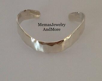 Bracelet,Sterling Silver Cuff, Sterling Bracelet, Hammered Sterling Cuff, RLM Bracelet