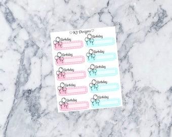 Birthday Reminder Stickers || 10 Planner Stickers