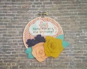 Nevertheless, she persisted stamped hoop art with felt flowers, feminist hoop art, 4 inch hoop