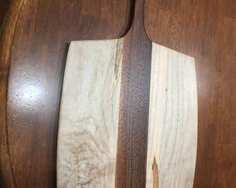 Long Handle Maple and Dark Walnut Wooden Cutting Board