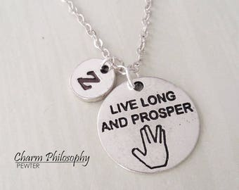 Live Long and Prosper Necklace - Personalized Monogram Initial Necklace - Spock Gifts - Vulcan Salute