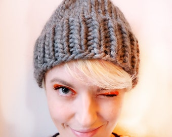 Hand Knitted Beanie - Grey