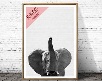 Safari Nursery, Elephant Animal Print, Boys Room Wall Art, Kids Large Poster, Safari Baby Shower, Printable African Animal, Black and White
