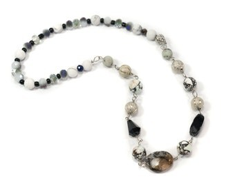 """Mixed Bead and Stone Necklace- 6"""" Flexible Chain"""