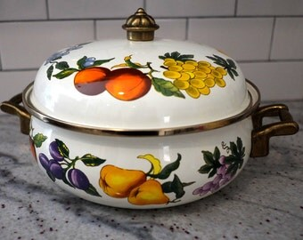 Vintage  Essence Tabletops unlimited Enamel cookware pot with lid, Enamelware Fruit Pattern, Made in Thailand Casserole