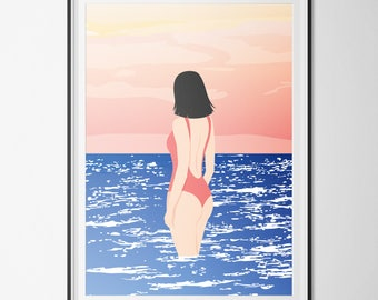 Poster / poster A3 - Vector Illustration - RISOGRAPHIE - Horizon - ocean, woman & body - woman, sexy, ocean, sunset - pastel