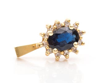 Vintage 1950s Gorgeous Blue Sapphire & Diamond Halo 14k Gold Pendant, VJ #372A