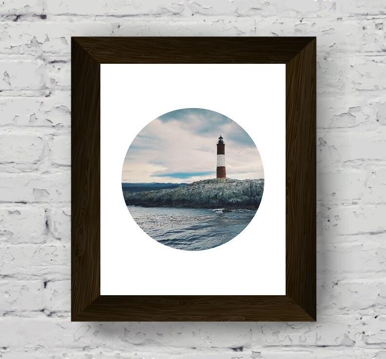stampa parete faro di stampa oceano parete arte cerchio fotografia