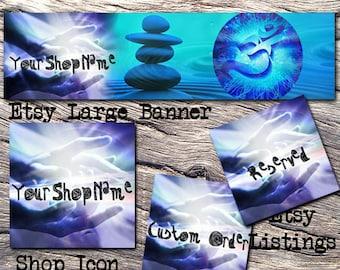 ETSY LARGE COVER Complete Set-Mystical Fantasy Cover Photo-Premade Fantasy Etsy Set-Reiki Banner- Large Cover,Yoga Large Cover, #115