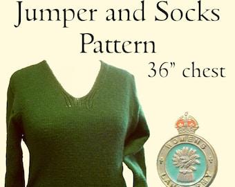 British Land Army Jumper and Socks Knitting pattern 1940's - P&B 2792 (PDF)